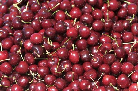 A shot of cherries at the market.