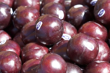 A shot of plums at the market.