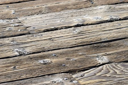 A close up shot of old wooden planks making up a peer. Stock Photo