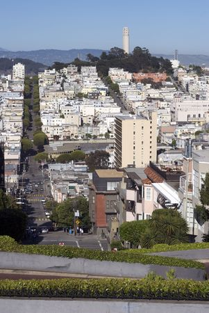 A view of downtown San Francisco containing Coit Tower.