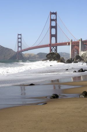 A shot of the Golden Gate Bridge taken from Baker Beach Stock Photo