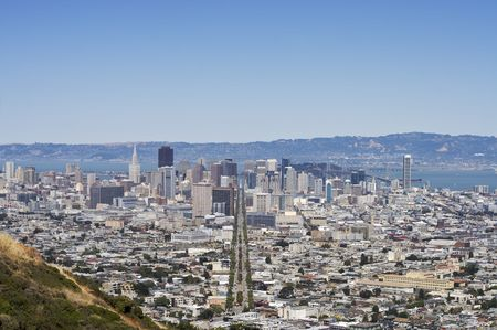 A shot of downtown San Francisco along Market Street taken from the top of Twin Peaks