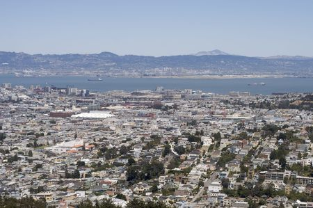 A shot of San Francisco and Oakland taken from the top of Twin Peaks Stock Photo