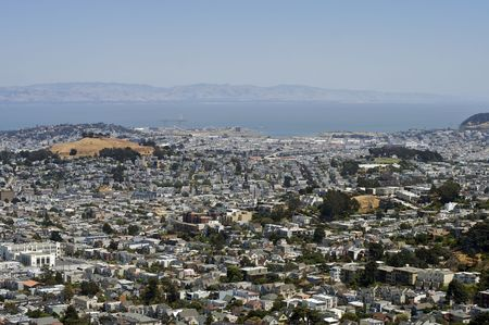 A shot of San Francisco taken from the top of Twin Peaks Stock Photo