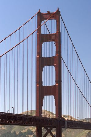 A shot of the Golden Gate Bridge taken from the overlook. Stock Photo