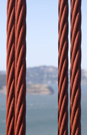A close up macro shot of a suspension cable on the Golden Gate Bridge.