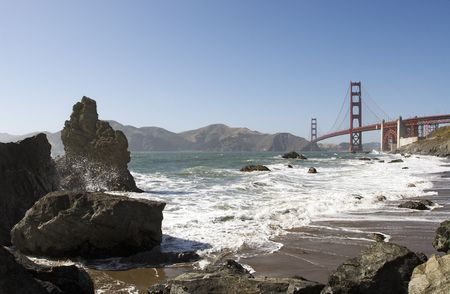 A shot of the Golden Gate Bridge taken from the Baker Beach. Stock Photo