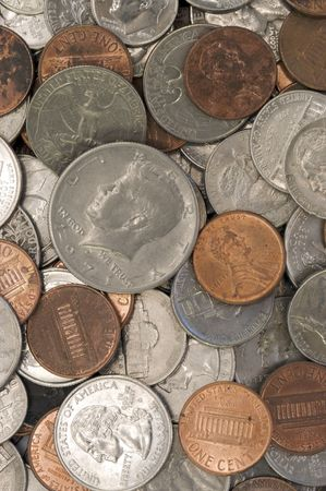 A macro studio shot of a pile of dirty coins. Stock Photo