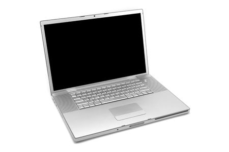 Silver laptop computer isolated on a white studio background with a black display. Stock Photo