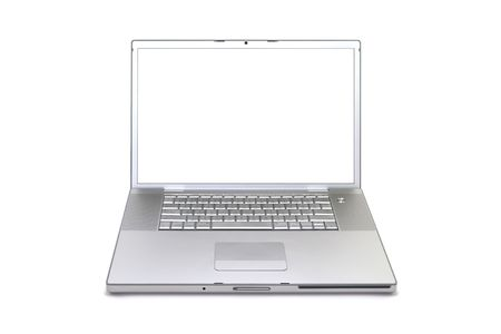 Silver laptop computer isolated on a white studio background Stock Photo - 3754528