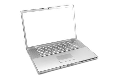 Silver laptop computer isolated on a white studio background Stock Photo