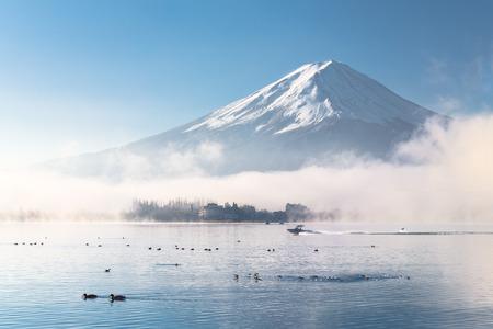 ガチョウとスキー、湖での朝富士 写真素材