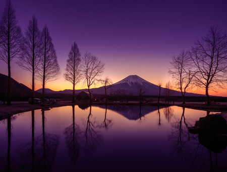 chubu: Fuji Reflect on a pond in the morning with twilight