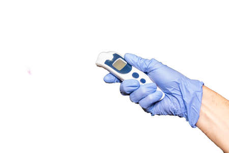 infrared thermometer on a white background Stockfoto - 154937147