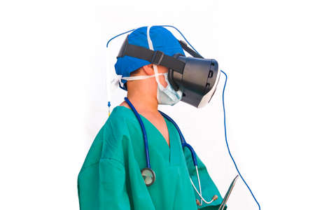 child dressed as a doctor with virtual reality glassesperson, 3d, ambulance, clinic, development, doctor, dream, dressed, education, emergency, emotional, first, game, glasses, hospital, job, kid, medical, medicine, nurse, occupation, pediatrician, physician, profession, professional, reality, smile, stethoscope, tools, uniform, virtual, health, looking, baby, care, caucasian, child, fun, little, one, portrait, role