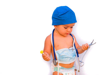 child dressed as a doctor. doctor-surgeon costume. Stockfoto - 155219389