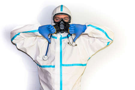 doctor with protective suit for covid19 with laboratory equipment. White background. Stockfoto - 154834731