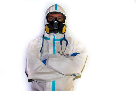 doctor with protective suit for covid19 with laboratory equipment. White background.