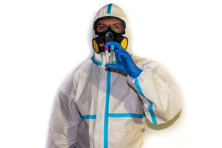 doctor with protective suit for covid19 with laboratory equipment. White background. Stockfoto - 154834734
