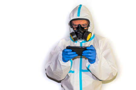 doctor with protective suit for covid19 with laboratory equipment White background. Stockfoto