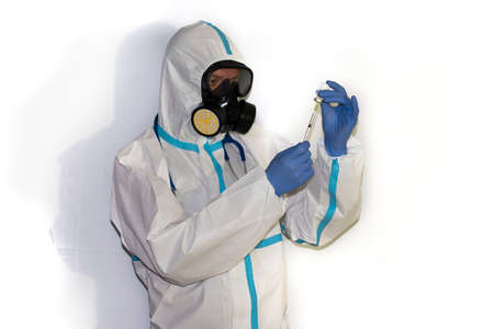 doctor with protective suit for covid19 with laboratory equipment. White background. Stockfoto - 154834742