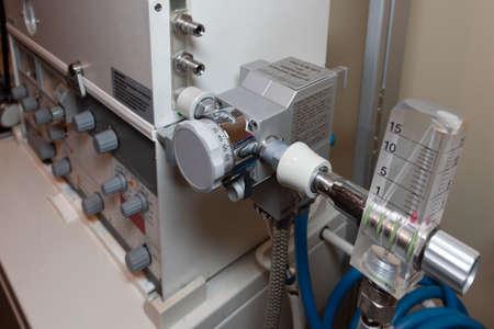 parts of vintage anesthesia respirator. Stockfoto
