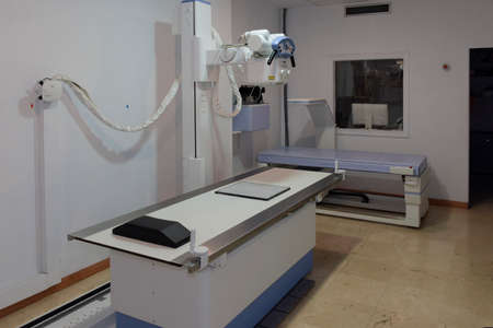 hospital radiology room. radiology equipment, mammography, densitometer, magnetic resonance and computerized axial tomography.