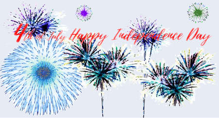 4th of July, United States Independence Day. fireworks. Vector illustration.