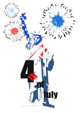 4th of July, US Independence Day. Statue of Liberty. Vector illustration