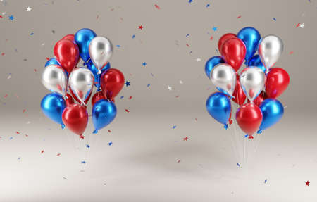 4th of July party. balloons with falling stars in 3d illustration