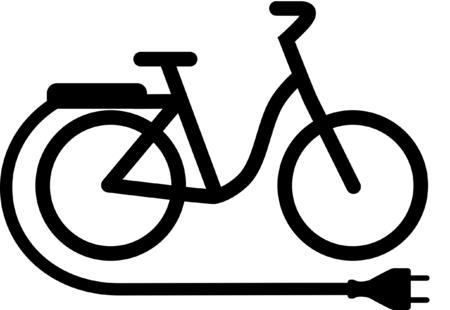 icono de punto de carga de bicicletas eléctricas Ilustración de vector