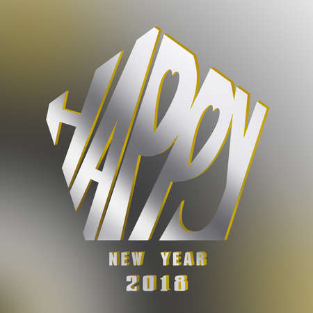 happy new year typography design withe sparking background.