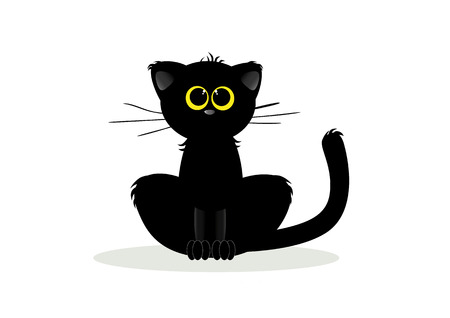 domestic animals: The black cat vector
