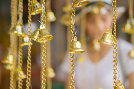 Closeup view of a very beautiful hanging bell.