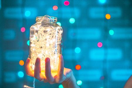 Flashing lights in the bottle. Standard-Bild