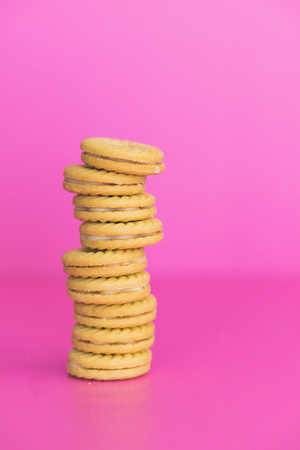 Cookies on a pink background.