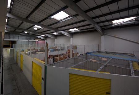 storage units: Large storage units in a warehouse