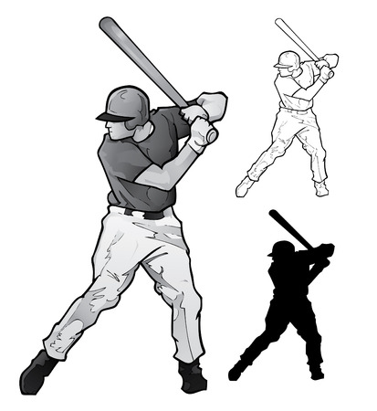 Baseball Player Batting  Illustration