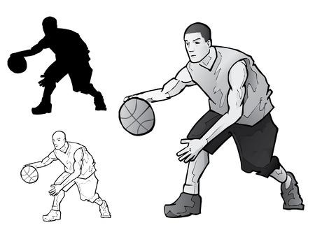 Basketball Player Dribbling Stock Vector - 7558888