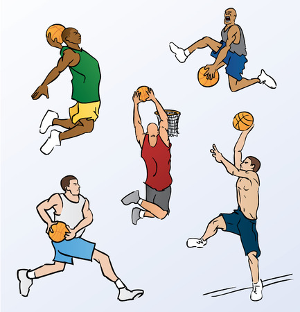 dunking: Basketball Players Dunking