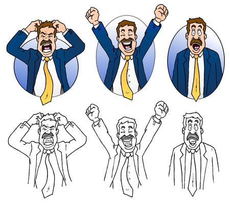 Business Man Expressions Cartoons Illustration