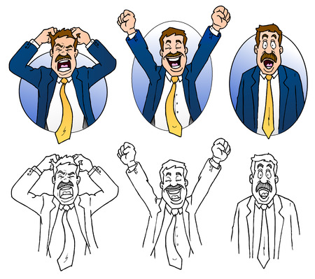 Business Man Expressions Cartoons Illustration
