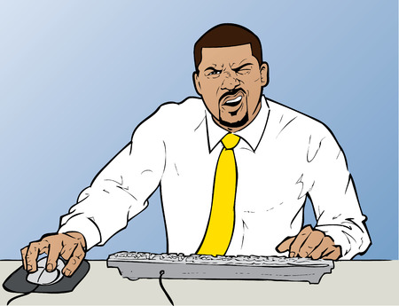 Confused Businessman at Computer