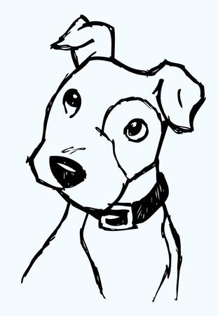 perro caricatura: Cachorro Face Sketch