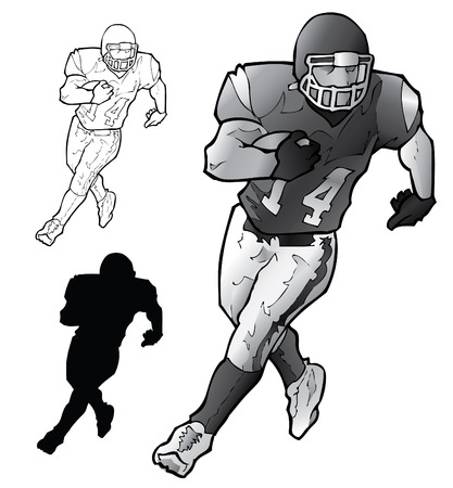 football player: Football Player Running Illustration