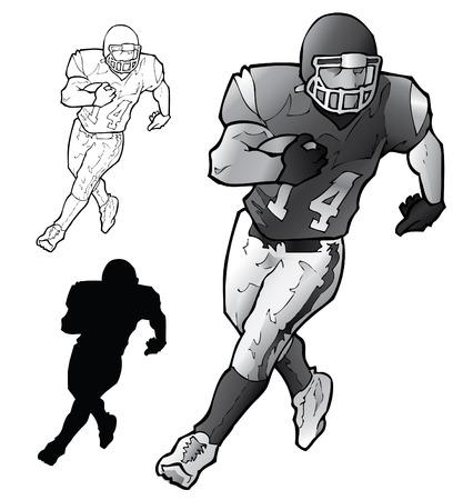 running back: Football Player Running Illustration