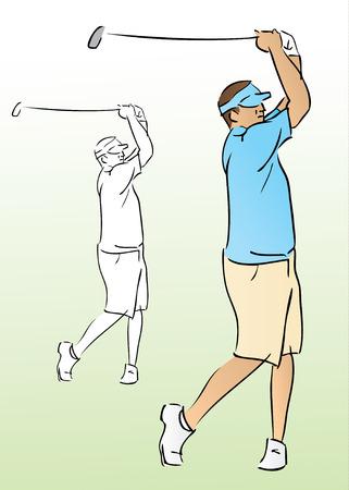 Golfer Swinging Club Illustration