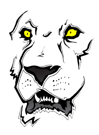 intense: Lion Face Sketch Illustration