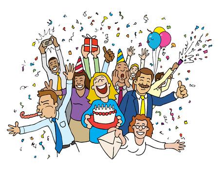 birthday celebration: Cartoon Office Celebration