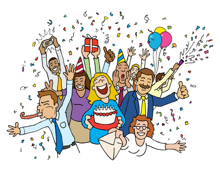 Cartoon-Office-Feier  Standard-Bild - 7558878